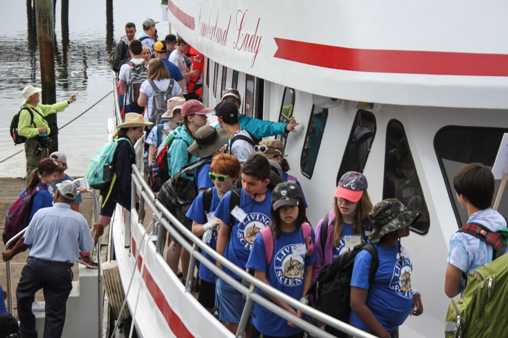 Living Science Students on the boat to Cumberland Island | Living Science Academy
